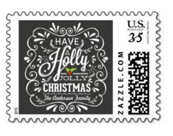 zazzle holiday cards Holly Jolly postage stamp