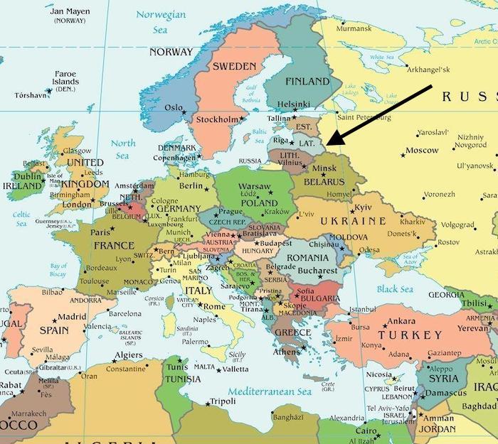 Letonya Dünya haritası