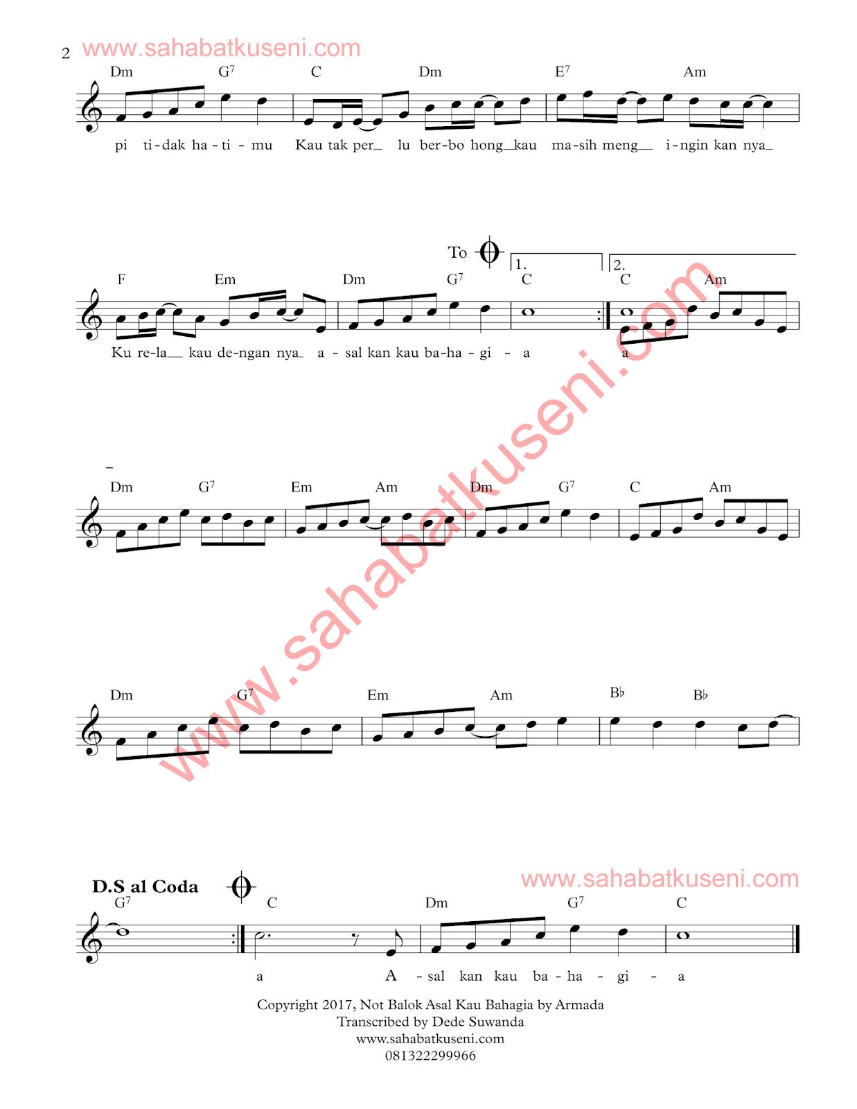 Partitur not balok lagu asal kau bahagia dari band armada berikut lirik dan chord lembar ke 2
