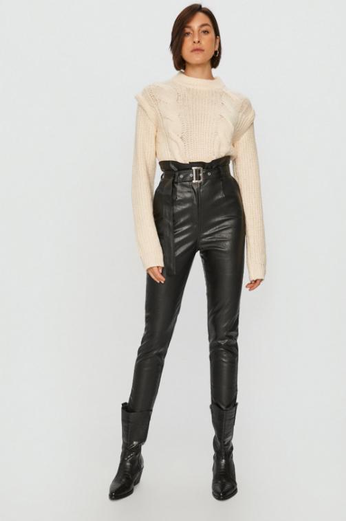 Answear Lab - Pantaloni negri cu talie inalta din imitatie de piele