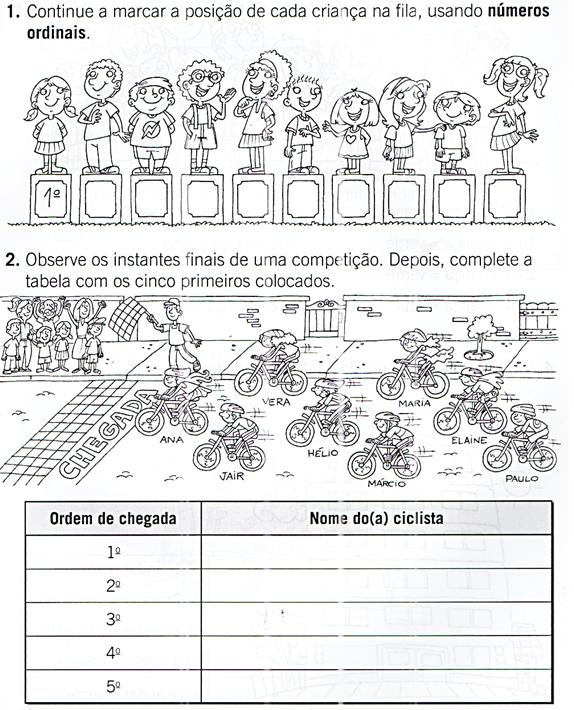 Matematica Numeros Ordinais Hora De Colorir Atividades Escolares