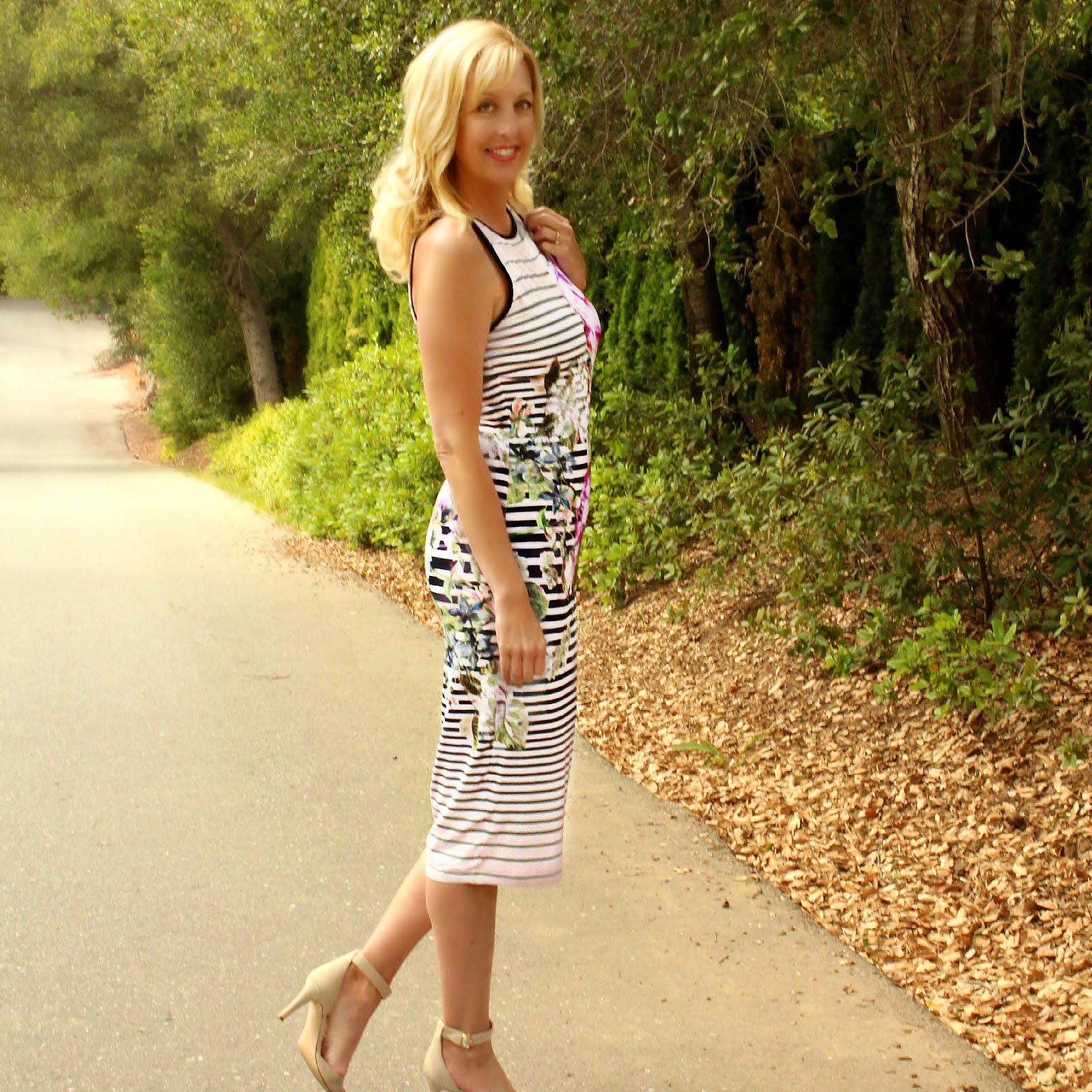 Ted Baker Peony Striped Midi Dress