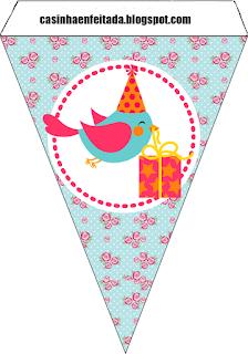 Banderines para Imprimir Gratis de Pajaritos Celebrando.