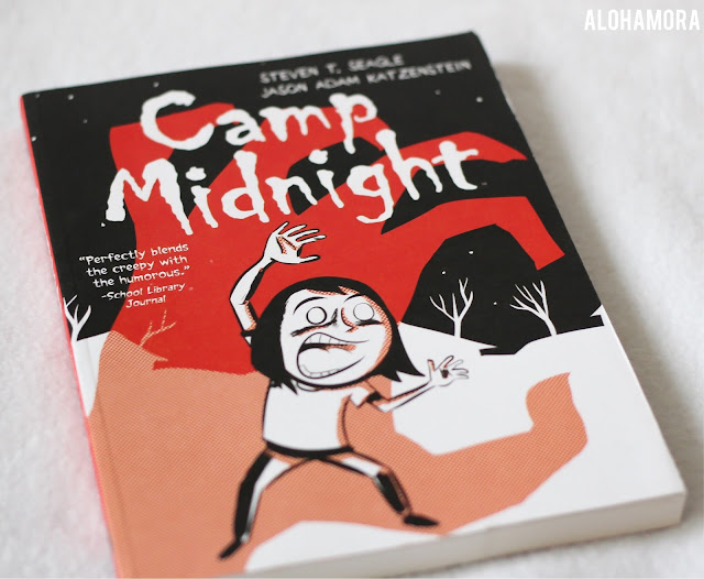 Camp Midnight by Steven Seagle a middle grade fiction graphic novel that is simple, fun, and with a great message.  4 out of 5 stars in my book review. Best for 5th through 8th grade. Divorced parents, be true to your self, girl, books for girls, summer camp, witches, wearwolves, ghosts, just for fun, friendship, clean read. Alohamora Open a Book www.alohamoraopenabook.blogspot.com