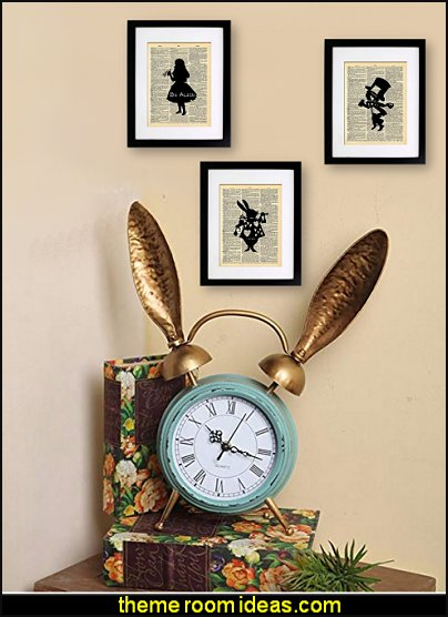 Retro Iron Iron Rabbit Ear alarm clock  Alice in Wonderland bedroom decor - Alice in wonderland themed rooms - design  an Alice in Wonderland Bedroom  - Alice in Wonderland bedroom ideas - Alice in Wonderland bedding - Alice in Wonderlnd wall decals - Alice in Wonderland wall murals - alice in wonderland wallpaper mural -  tea party theme - alice in wonderland bedroom furniture - Harlequin stencils