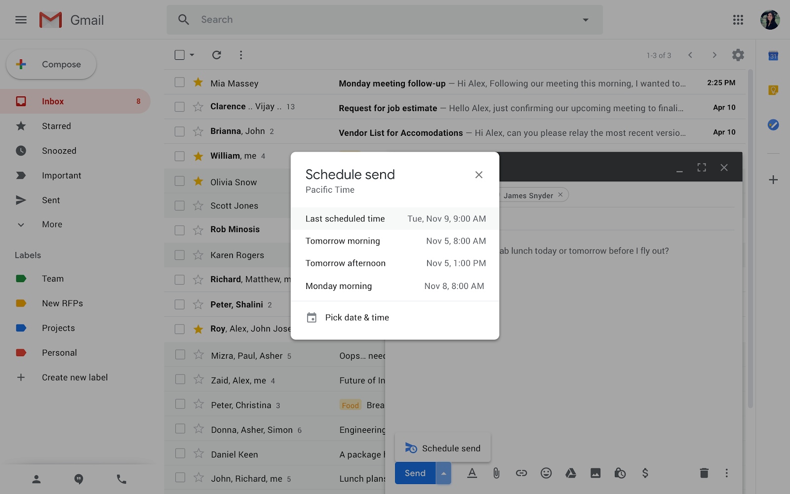 G Suite Updates Blog: Write now, send later with Schedule send in Gmail