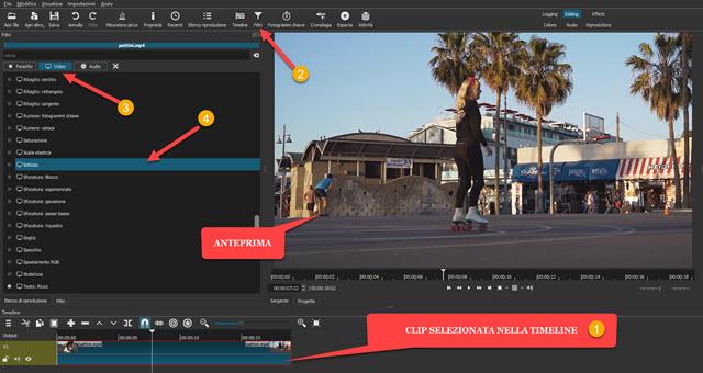 aggiungere il filtro Schizzo con Shotcut