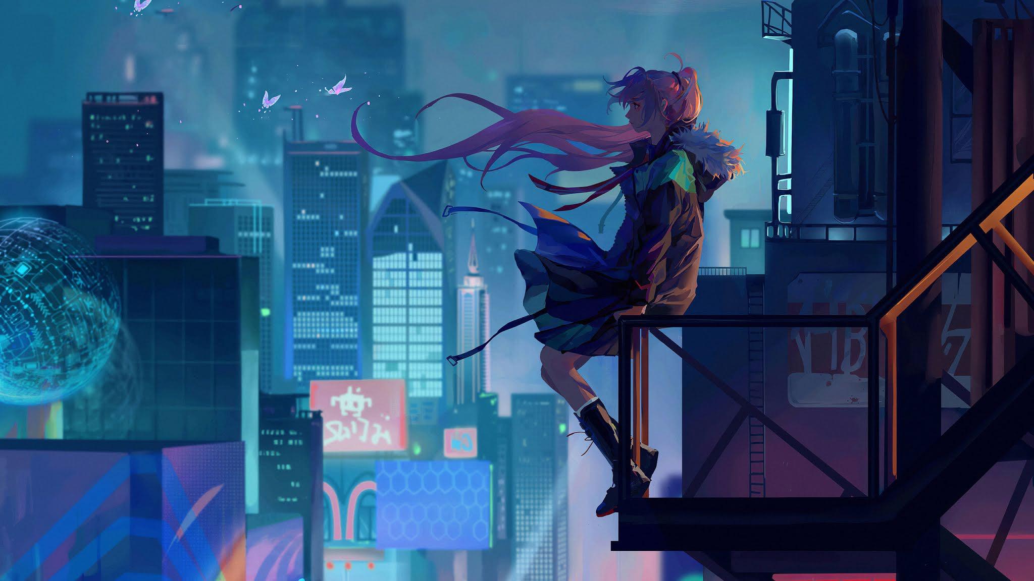 City Anime Girl Alone 4k Wallpaper
