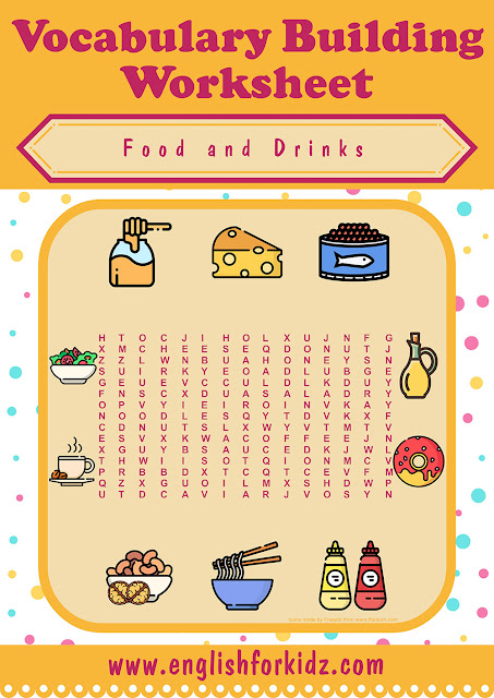 Printable food and drinks word search activity -- free printable ESL worksheets