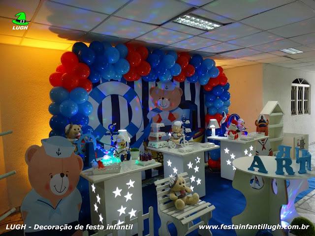 Decoração de mesa infantil Ursinho Marinheiro - Festa infantil - Provençal simples