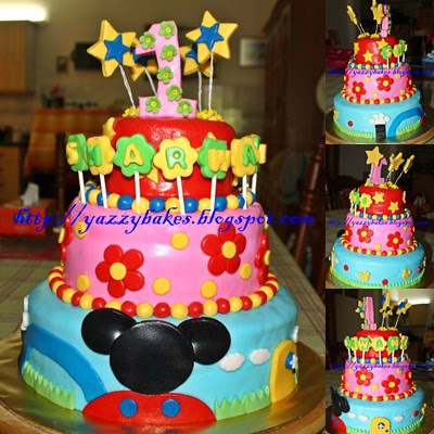 Yazzy Bakes Mickey Mouse Clubhouse 3 Tier Cake For Sharwani