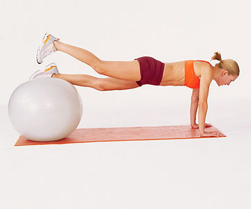 Inverted leg lift with Swiss ball