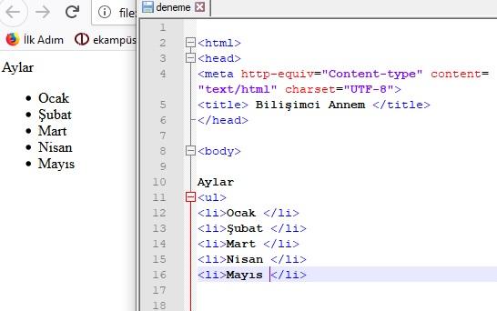 html ul kodu