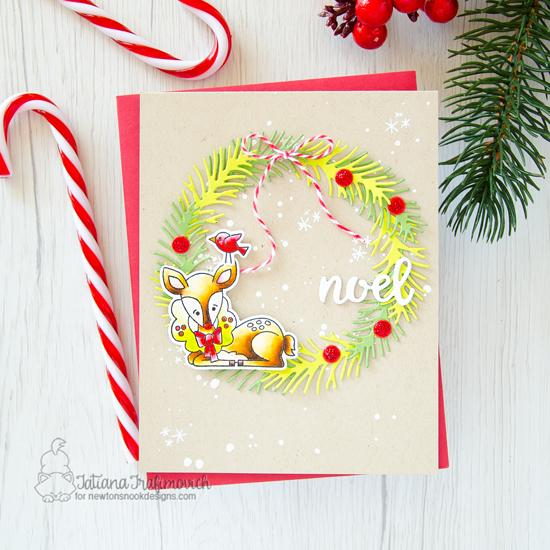 Sweet deer card with Wreath by Tatiana Trafimovich | Festive Fawns Stamp set and Pines & Holly Die Set by Newton's Nook Designs #newtonsnook #handmade