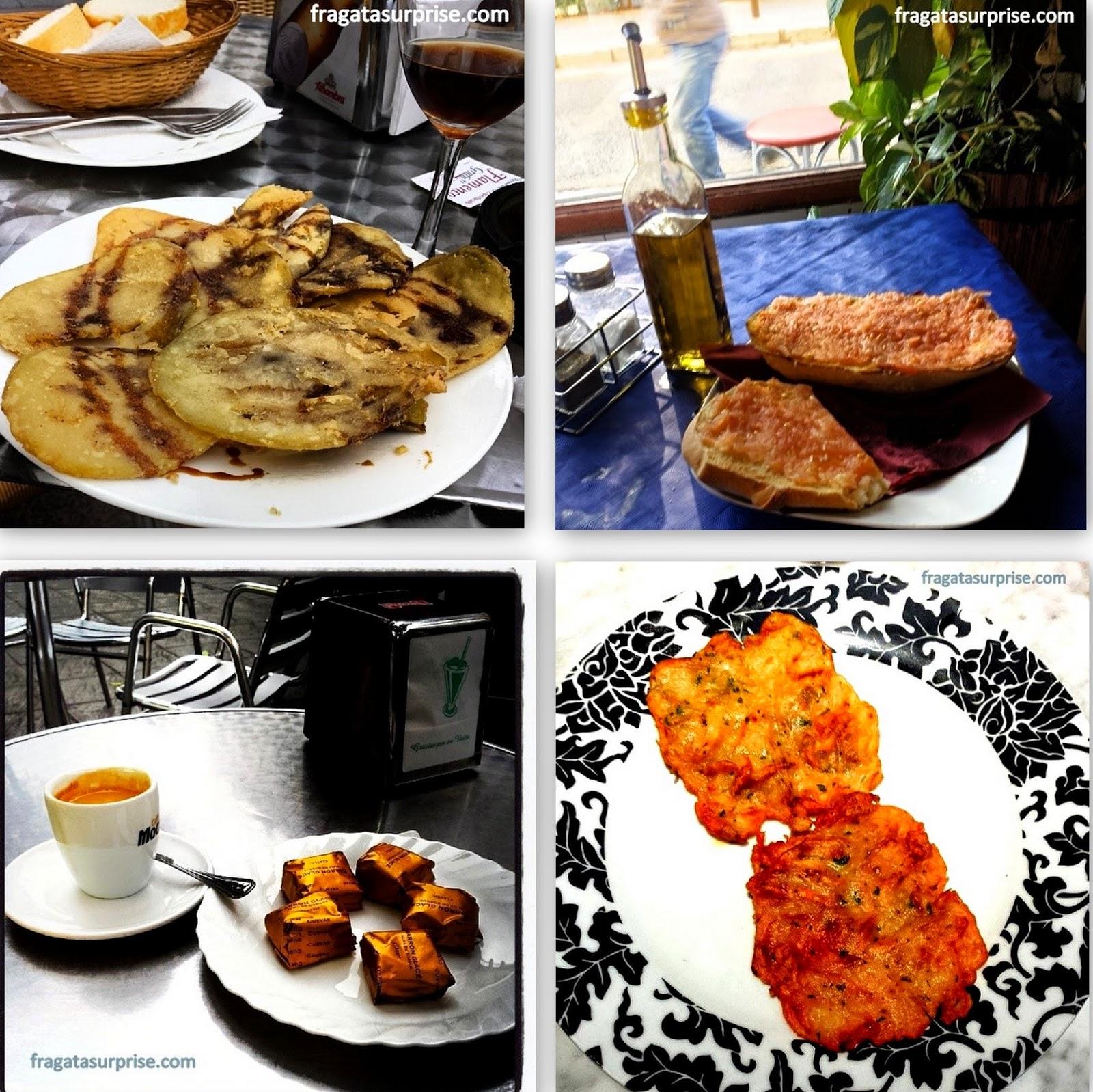 berinjelas, pão com tomate, marrons glacê e tortilhas de camarão