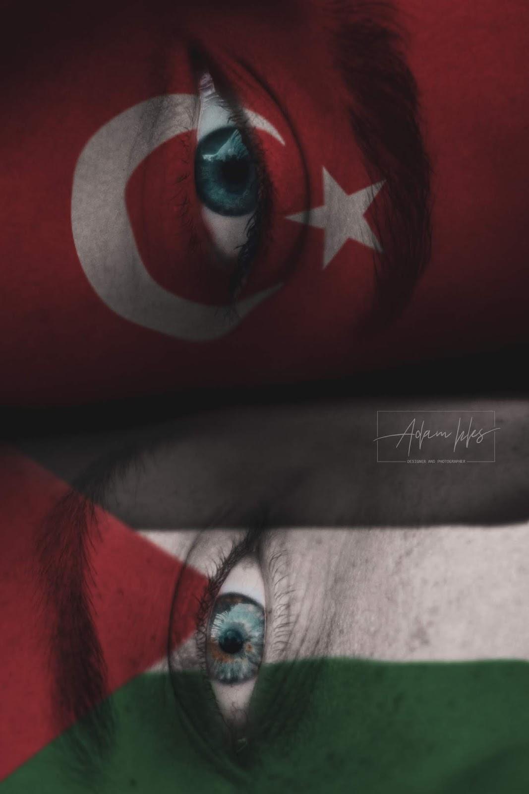 علم تركيا وعلم فلسطين