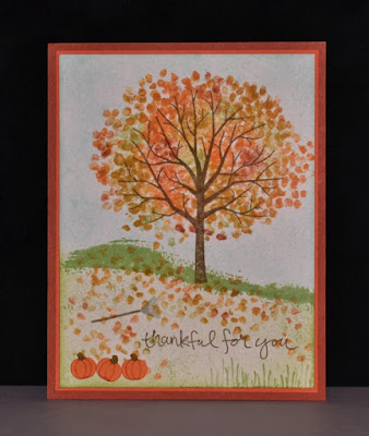 Sheltering Tree, Baby Wipe Technique, Wednesday 201, Beyond the Basics, Stampin' Up!, fall card, Thanksgiving, Stamp with Trude