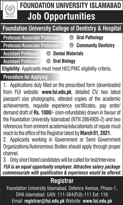 Foundation University College of Dentistry & Hospital Islamabad Jobs 2021 - FUI Jobs 2021 - Download Job Application Form :- www.fui.edu.pk
