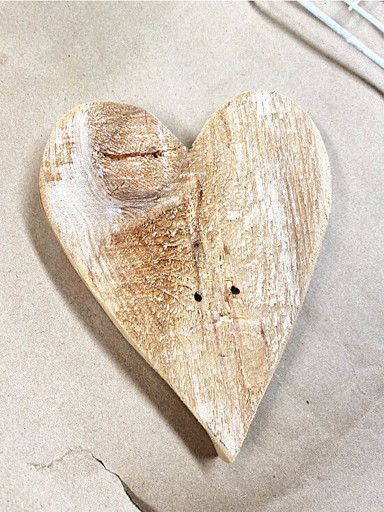 heart cut from rough hewn pine