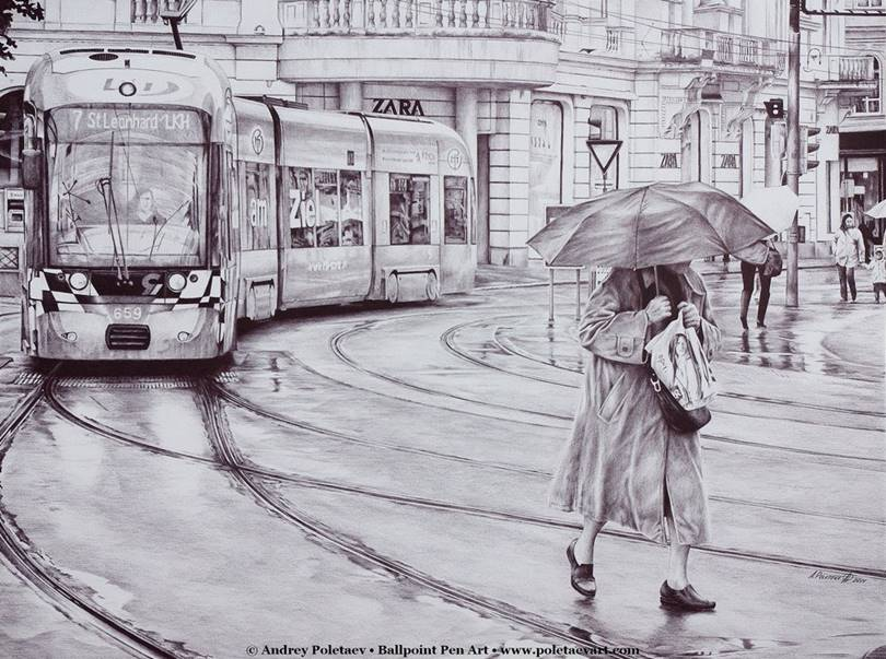Art with Ballpoint Pen by Andrey Poletaev