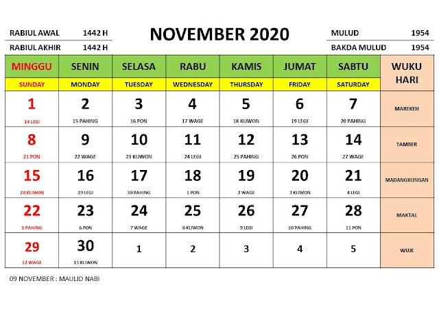 Kalender 2020 Jawa Bulan November