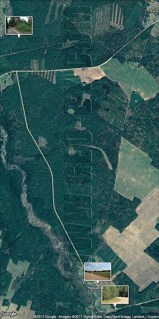 Спутниковая карта Налибокской пущи. Деревня Кречеты