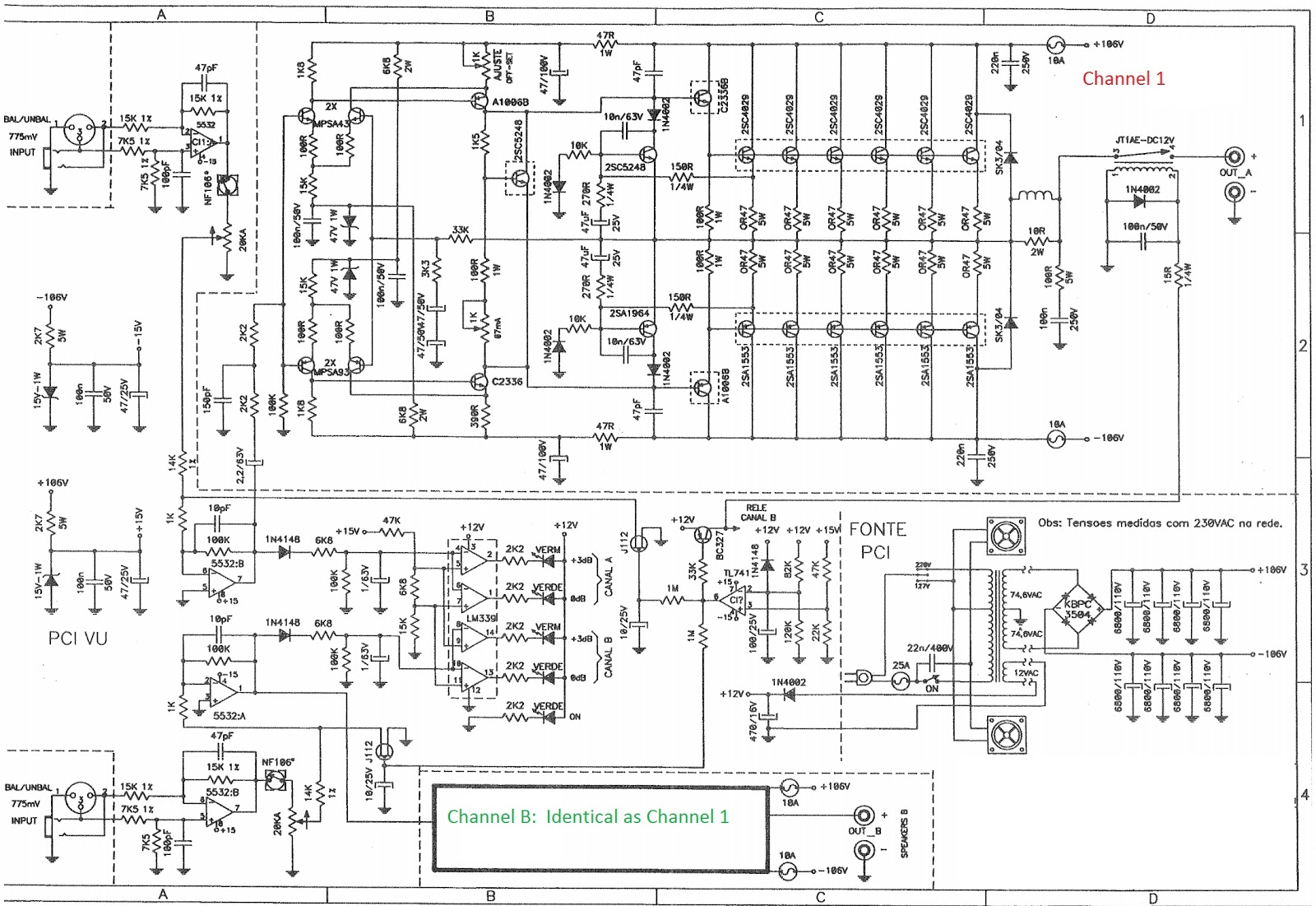 Staner Upa8000  lifier 1600watts Rms on circuit diagram