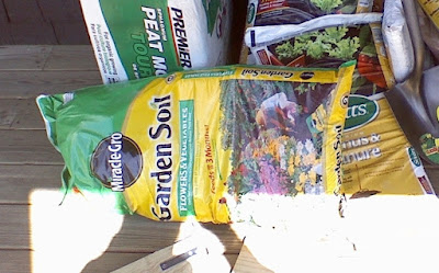 bag of commercial garden soil