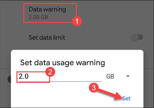 أدخل رقمًا لتحذير استخدام البيانات