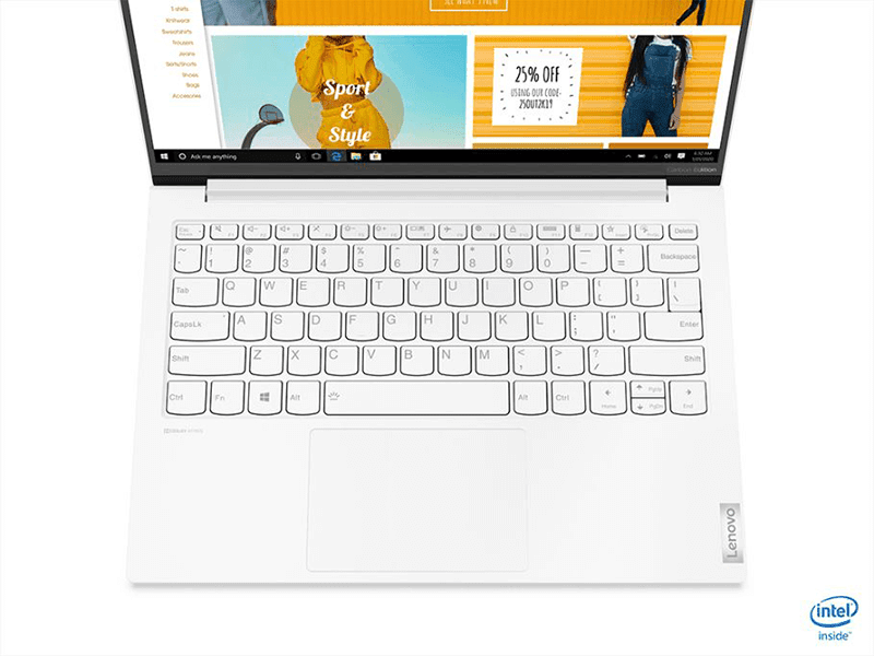 With slim bezels and full-sized keyboard