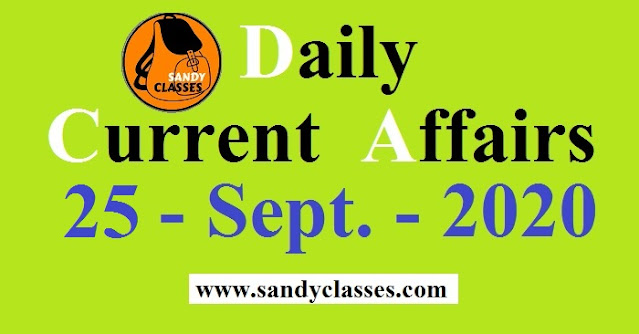 Daily Current Affairs in Hindi / English - 25 September 2020