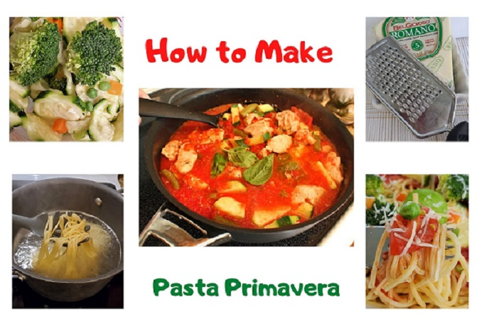 this is a collage on how to make pasta primavera step by step
