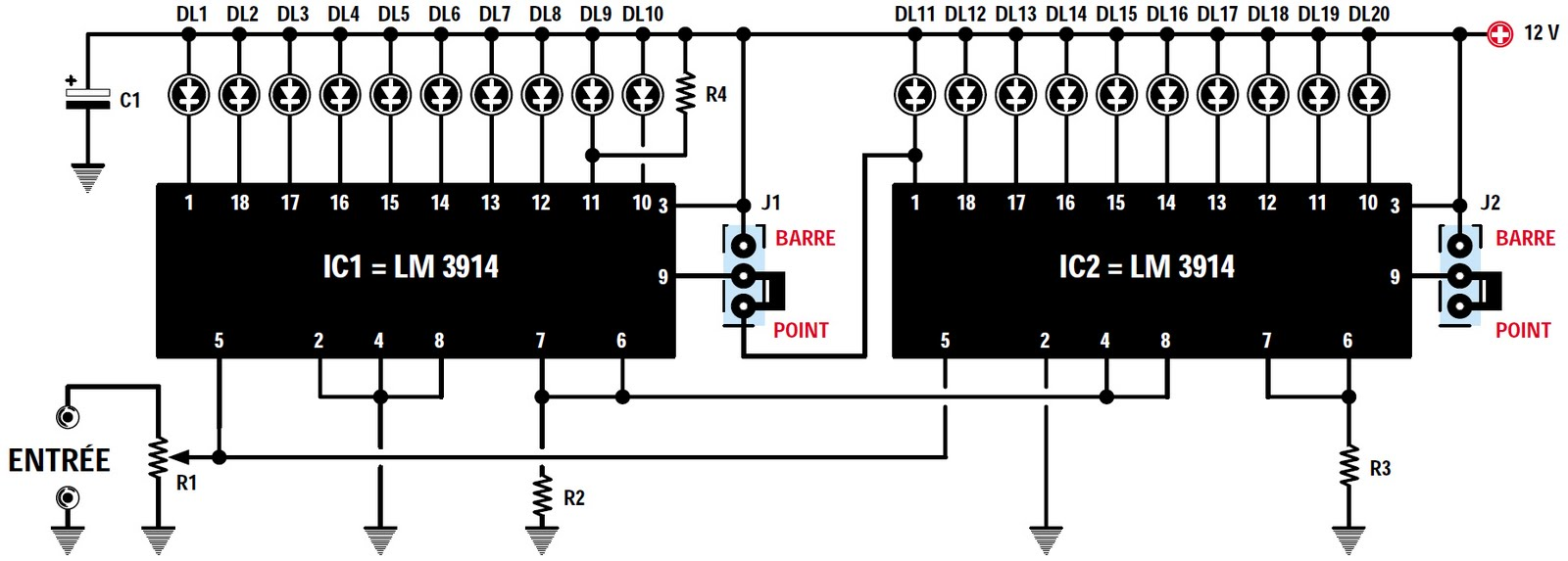All About Lm3914 12v Battery Monitor Circuit Electronic Circuits Led Display Charging Lm317 Aku Sarj Devre