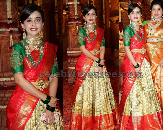Pretty Golden Kanchi Pattu Half Saree
