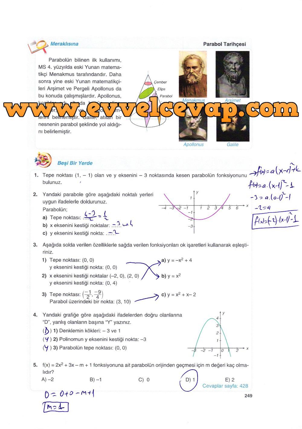 10. Sınıf Matematik Tuna Yayınları Ders Kitabı 249. Sayfa Çözümleri