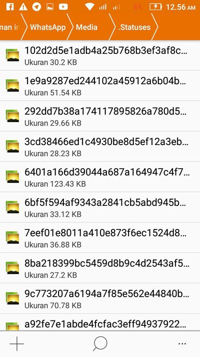folder tempat pentimpan status whatsapp