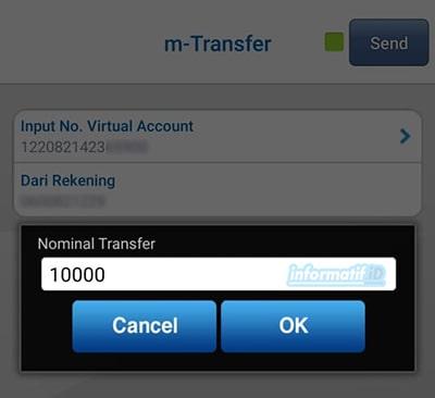 Transfer Virtual Account BCA Mobile - Masukan Nominal