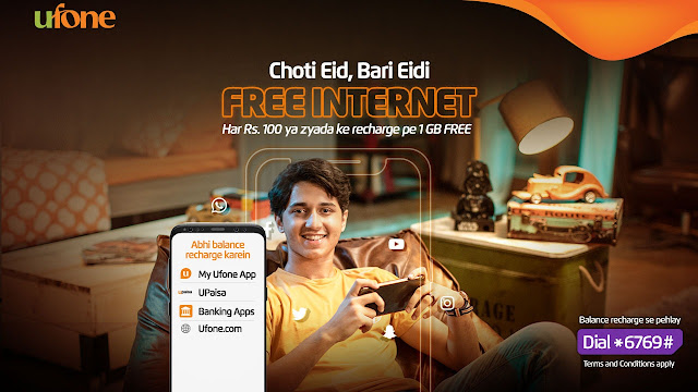 Ufone offers generous free data 'Eidi' on mobile top-ups
