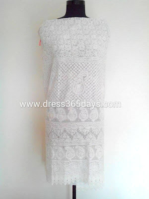 White Dress Material with lace and Chikankari Embroidery