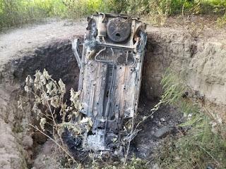 Veículo suspeito de ter sido usado em homicídio na cidade de Nova Floresta foi localizado incendiado