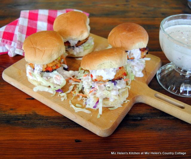 Nana's Crab Cake Sliders With Dill Dressing at Miz Helen's Country Cottage