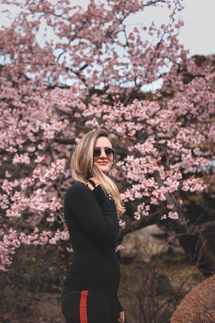 Alicia Mara with Cherry Blossoms at Shinjuku Garden Tokyo