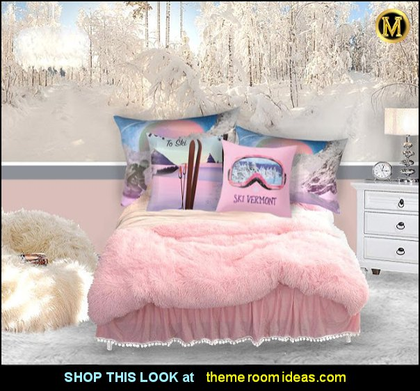 skiing bedroom for girls winter sports bedrooms furry bedding faux fur decor snow bedroom ideas