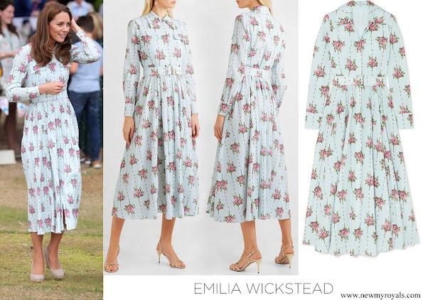 Kate Middleton wore Emilia Wickstead Aurora belted floral-print swiss-dot cotton blend seersucke dress