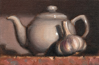 Still life oil painting of a white porcelain teapot beside a garlic bulb.