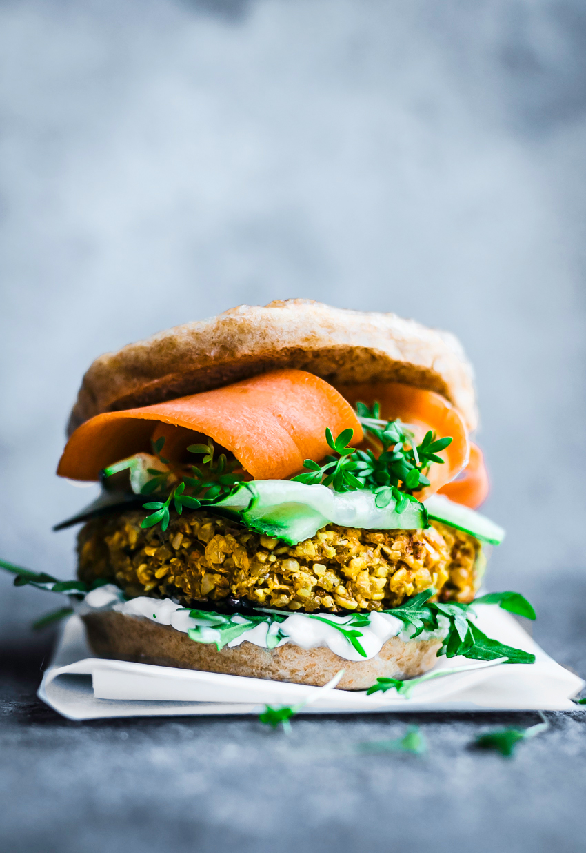 Vegan cauliflower burgers with Indian spices, rice, and oats