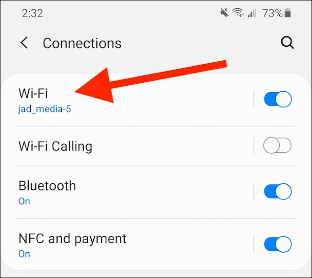 """حدد إعداد """"Wi-Fi""""."""