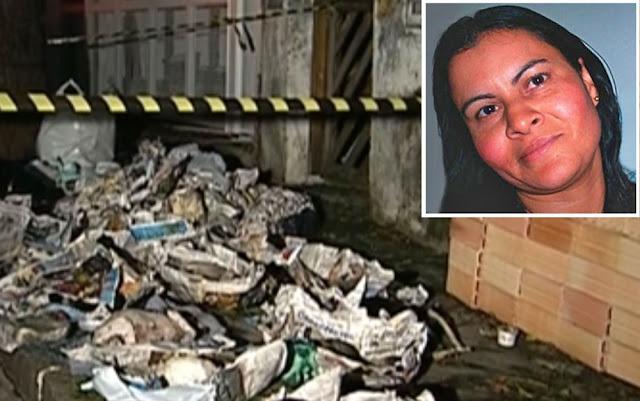 Quatro cães e 33 gatos foram encontrados mortos em sacos de lixo (na foto maior) na frente da casa de Dalva Lina da Silva (no detalhe); ela foi presa neste mês após ter sido condenada por maus tratos e mortes dos animais. A mulher nega o crime (Foto: Arquivo/Globo News/Reprodução)
