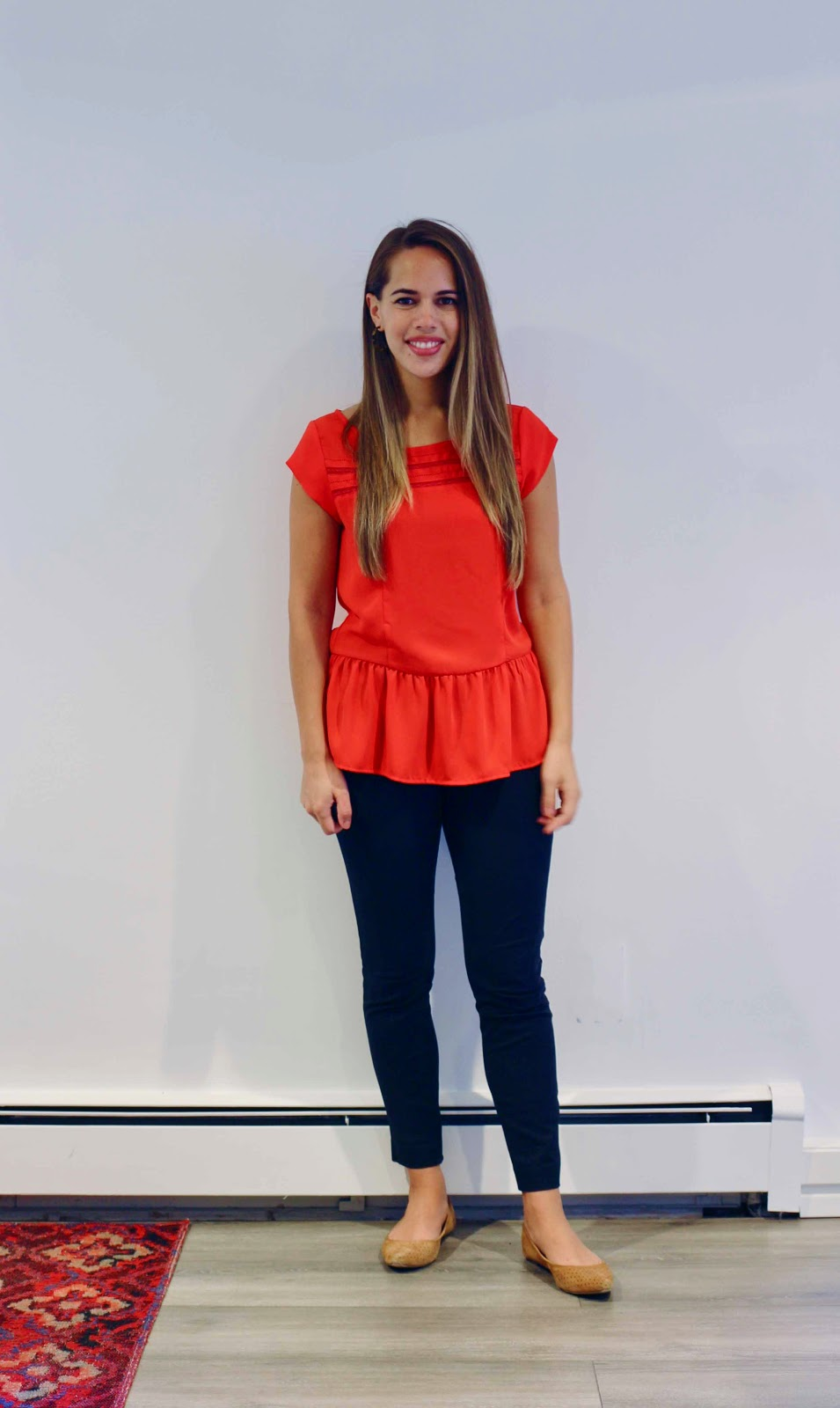 Jules in Flats - Red Peplum Top (Business Casual Summer Workwear on a Budget)