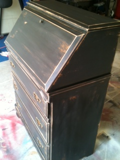 Vintage Secretary Desk >> Furniture by MK Designs: Black distressed VINTAGE ...